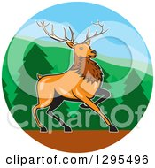 Clipart Of A Cartoon Red Buck Deer In A Forest Circle Royalty Free Vector Illustration