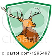 Clipart Of A Cartoon Red Buck Deer Emerging From A Green And White Shield Circle Royalty Free Vector Illustration by patrimonio