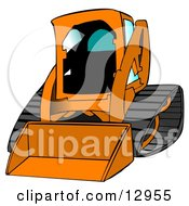 Orange Bobcat Skid Steer Loader With Blue Window Tint Clipart Graphic Illustration by djart