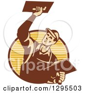 Clipart Of A Retro Male Plasterer Working And Emerging From A Brown And Yellow Oval Royalty Free Vector Illustration by patrimonio