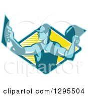 Clipart Of A Retro Male Plasterer Working In A Blue And Yellow Diamond Royalty Free Vector Illustration by patrimonio
