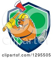 Clipart Of A Lumberjack Beaver Wearing A Hard Hat And Wielding An Axe In A Blue White And Green Shield Royalty Free Vector Illustration