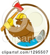 Clipart Of A Retro Cartoon Lumberjack Beaver Wearing A Hard Hat And Wielding An Axe In A Brown White And Pastel Green Circle Royalty Free Vector Illustration