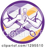 Clipart Of Retro Barber Arms Holding A Brush And Comb Over Scissors In A Purple White And Yellow Barber Pole Circle Royalty Free Vector Illustration by patrimonio