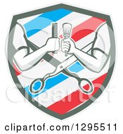 Clipart Of Retro Barber Arms Holding A Brush And Comb Over Scissors In A White Blue And Red Barber Pole Shield Royalty Free Vector Illustration