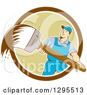 Poster, Art Print Of Cartoon White Male House Painter With A Brush Emerging From A Brown White And Green Circle