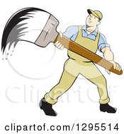 Poster, Art Print Of Cartoon White Male House Painter With A Giant Wet Brush