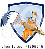 Poster, Art Print Of Cartoon White Male House Painter With A Brush Emerging From A Blue And White Shield