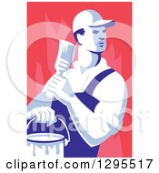 Poster, Art Print Of Retro Male House Painter Holding A Brush And Bucket Looking Back Over Red