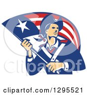 Clipart Of A Retro American Patriot Minuteman Revolutionary Soldier Holding A Flag Banner Royalty Free Vector Illustration