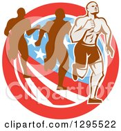Clipart Of A Retro Male Marathon Runner Ahead Of Others Over An American Circle Royalty Free Vector Illustration