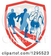 Clipart Of A Retro Male Marathon Runner Ahead Of Others Over An American Shield Royalty Free Vector Illustration