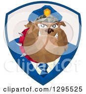 Clipart Of A Retro Low Poly Police Bulldog In A Shield Royalty Free Vector Illustration by patrimonio