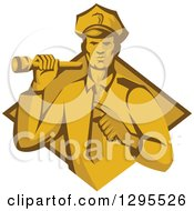 Clipart Of A Retro Male Police Officer Or Security Guard Shining A Flashlight And Pointing Over A Yellow And Brown Diamond Royalty Free Vector Illustration by patrimonio