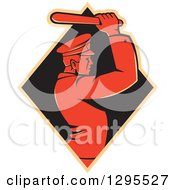 Clipart Of A Retro Male Police Man Using A Baton In A Tan And Black Diamond Royalty Free Vector Illustration