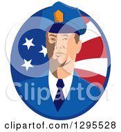 Clipart Of A White Male Security Guard In An American Flag Oval Royalty Free Vector Illustration by patrimonio