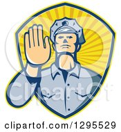 Clipart Of A Retro White Male Police Officer Gesturing Stop With His Hand Inside A Ray Shield Royalty Free Vector Illustration