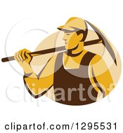Clipart Of A Retro Male Coal Miner Holding A Pickaxe In A Tan Circle Royalty Free Vector Illustration