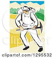 Clipart Of A Retro White Male Miner Working With A Pickaxe Royalty Free Vector Illustration