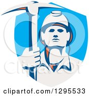 Clipart Of A Retro Male Coal Miner Holding A Pickaxe In A Blue Shield Royalty Free Vector Illustration by patrimonio
