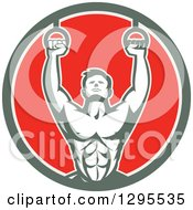 Retro Male Crossfit Or Gymnast Athlete Doing Kipping Pull Ups On Still Rings In A Green White And Red Circle
