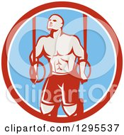 Clipart Of A Retro Male Crossfit Or Gymnast Athlete Doing Kipping Pull Ups On Still Rings In A Red White And Blue Circle Royalty Free Vector Illustration by patrimonio