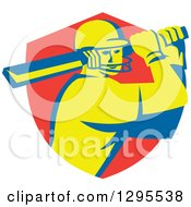Clipart Of A Retro Cricket Batsman Player Emerging From A Red Shield Royalty Free Vector Illustration