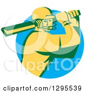 Clipart Of A Retro Cricket Batsman Player Emerging From A Blue Circle Royalty Free Vector Illustration
