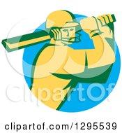 Retro Cricket Batsman Player Emerging From A Blue Circle