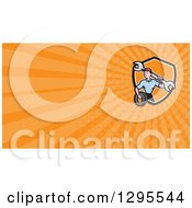 Clipart Of A Cartoon Male Mechanic Worker Holding A Giant Wrench And A Tire And Orange Rays Background Or Business Card Design Royalty Free Illustration