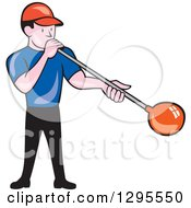 Clipart Of A Cartoon White Male Worker Blowing Glass Royalty Free Vector Illustration
