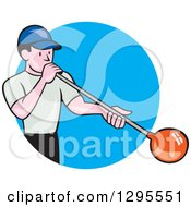 Clipart Of A Cartoon White Male Worker Blowing Glass And Emerging From A Blue Circle Royalty Free Vector Illustration