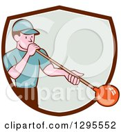 Clipart Of A Cartoon White Male Worker Blowing Glass And Emerging From A Brown White And Pastel Green Shield Royalty Free Vector Illustration