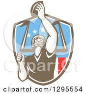 Clipart Of A Retro American Football Player Scoring A Touchdown In An American Shield Royalty Free Vector Illustration by patrimonio