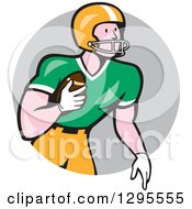 Clipart Of A Cartoon White Male Gridiron American Football Player Holding The Ball And Emerging From A Gray Circle Royalty Free Vector Illustration