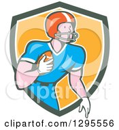 Clipart Of A Cartoon White Male Gridiron American Football Player Holding The Ball And Emerging From A Green White And Yellow Shield Royalty Free Vector Illustration