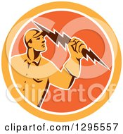 Clipart Of A Retro Male Electrician Holding A Lightning Bolt In An Orange And White Circle Royalty Free Vector Illustration by patrimonio