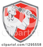 Clipart Of A Retro Male Electrician Holding A Lightning Bolt In A Gray White And Red Shield Royalty Free Vector Illustration
