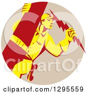 Clipart Of A Retro Yellow And Red Lineman Male Electrician Holding A Lightning Bolt In A Taupe Circle Royalty Free Vector Illustration