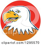 Clipart Of A Cartoon Bald Eagle Head In A Red Circle Royalty Free Vector Illustration