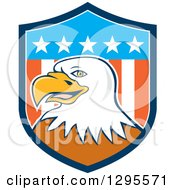 Clipart Of A Cartoon Bald Eagle Head In An American Shield Royalty Free Vector Illustration