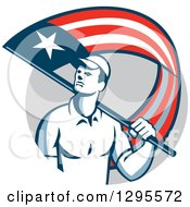 Clipart Of A Retro Male Handyman Walking With An American Themed Flag Over His Shoulder In A Gray Circle Royalty Free Vector Illustration