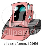 Girly Pink Bobcat Skid Steer Loader With Blue Window Tint Clipart Graphic Illustration