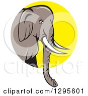 Clipart Of A Cartoon Indian Elephant Facing Right And Emerging From A Yellow Circle Royalty Free Vector Illustration