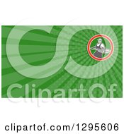 Clipart Of A Retro Male Chef With A Pizza On A Peel And Green Rays Background Or Business Card Design Royalty Free Illustration