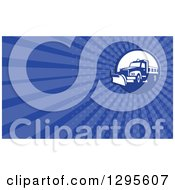 Clipart Of A Retro Snow Plow And Blue Rays Background Or Business Card Design Royalty Free Illustration by patrimonio