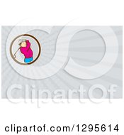 Clipart Of A Retro Cartoon Male Golfer And Gray Rays Background Or Business Card Design Royalty Free Illustration