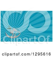 Clipart Of A Male Gofer Teeing Off And Blue Rays Background Or Business Card Design Royalty Free Illustration