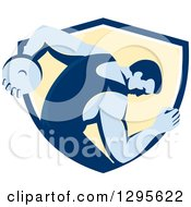 Clipart Of A Retro Male Discus Thrower Emerging From A Blue White And Yellow Shield Royalty Free Vector Illustration