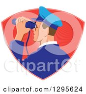 Clipart Of A Retro Male Navy Captiain Viewing Through Binoculars In A Red Ray Shield Royalty Free Vector Illustration by patrimonio